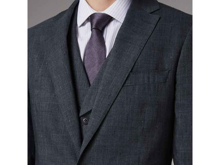 Soho Fit Three-piece Linen Wool Suit in Pale Slate Blue - Men | Burberry - cell image 1