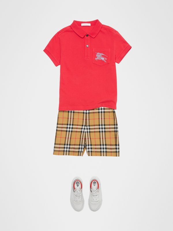 EKD Logo Cotton Piqué Polo Shirt in Bright Red - Children | Burberry - cell image 2