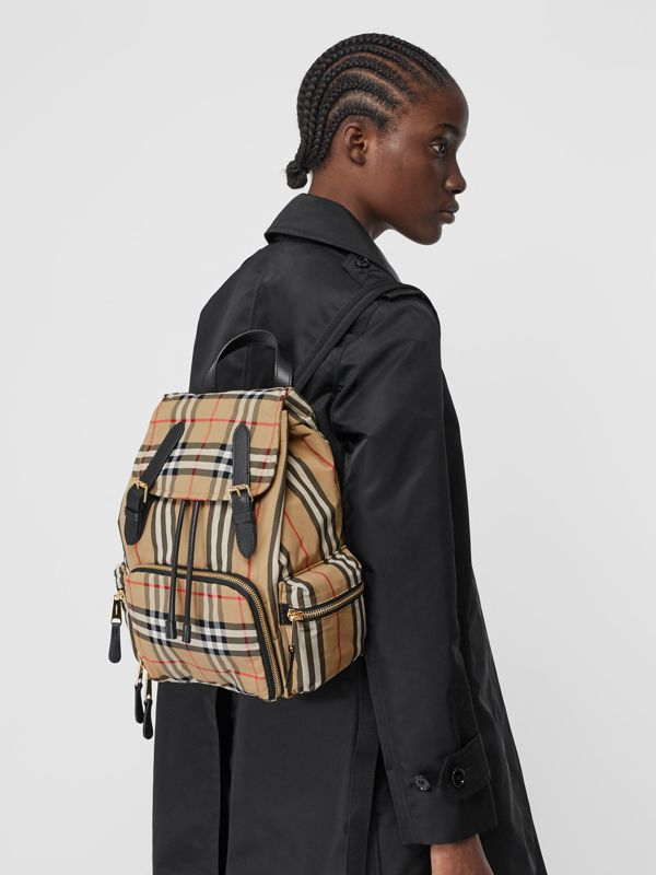 The Medium Rucksack in Vintage Check ECONYL® in Archive Beige - Women | Burberry - cell image 2