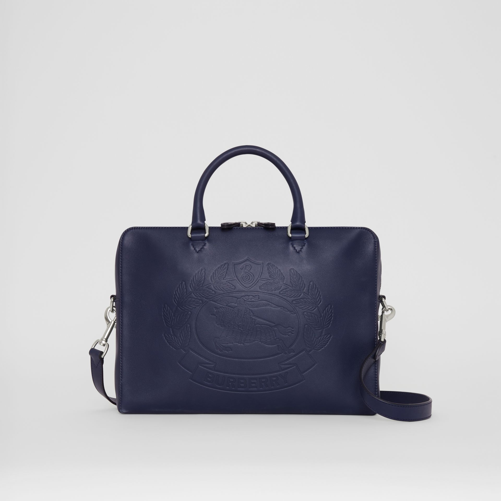 Embossed Crest Leather Briefcase in Regency Blue - Men | Burberry United States - gallery image 0