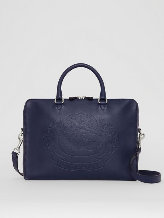 Embossed Crest Leather Briefcase in Regency Blue