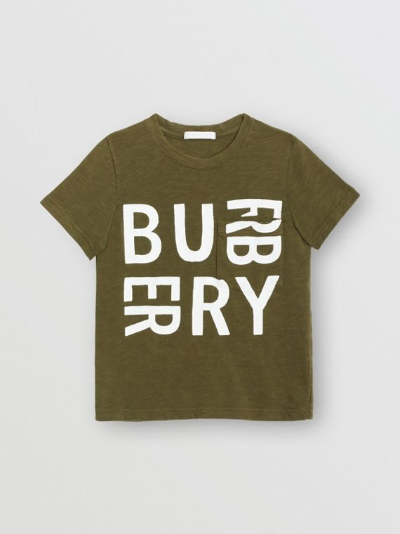 Logo Print Cotton T-shirt in Khaki