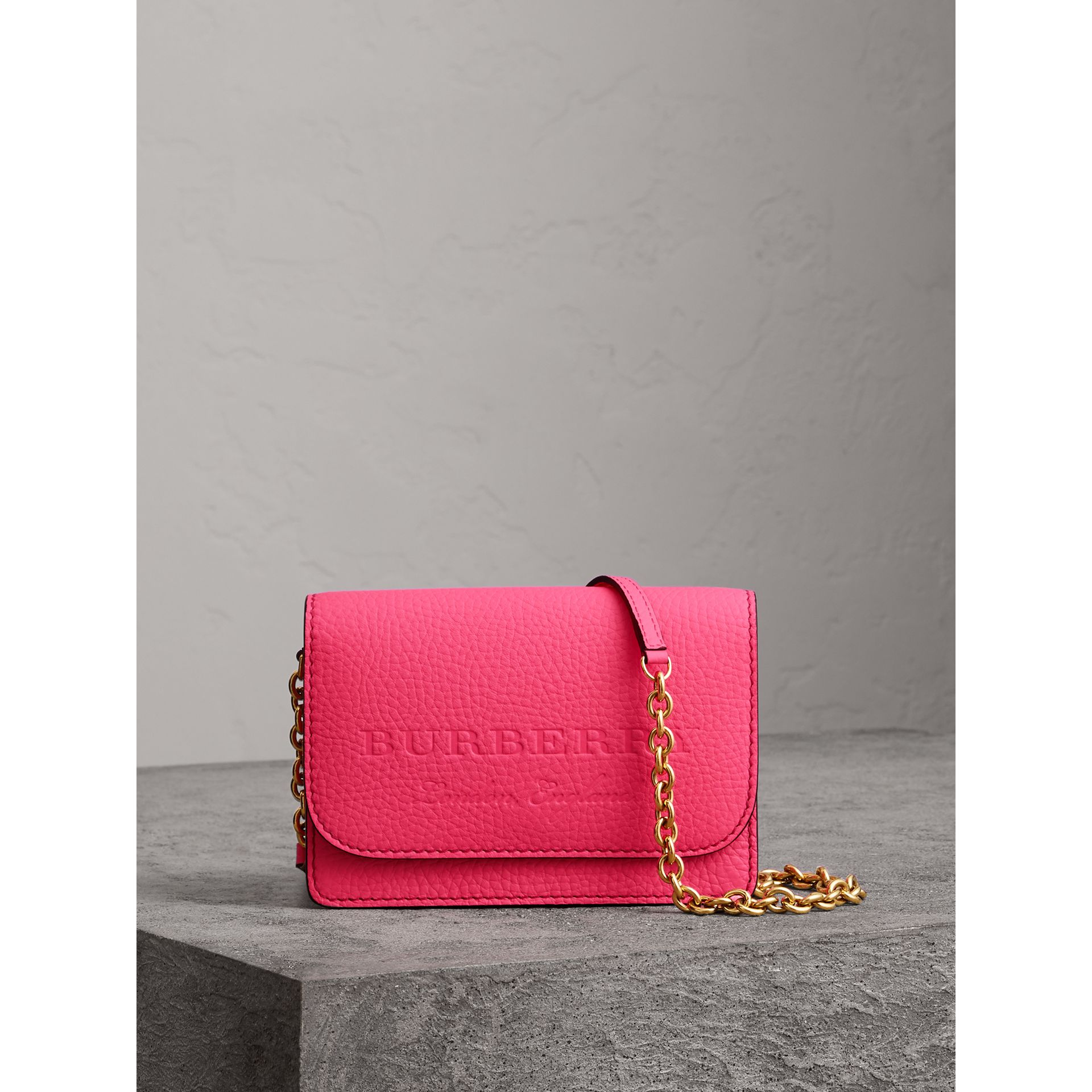 Embossed Leather Wallet with Detachable Strap in Bright Pink - Women | Burberry - gallery image 0