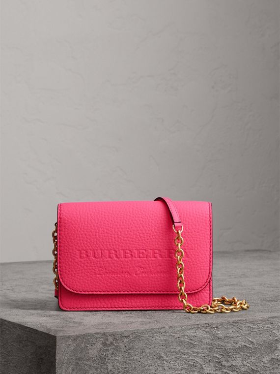 Embossed Leather Wallet with Detachable Strap in Bright Pink