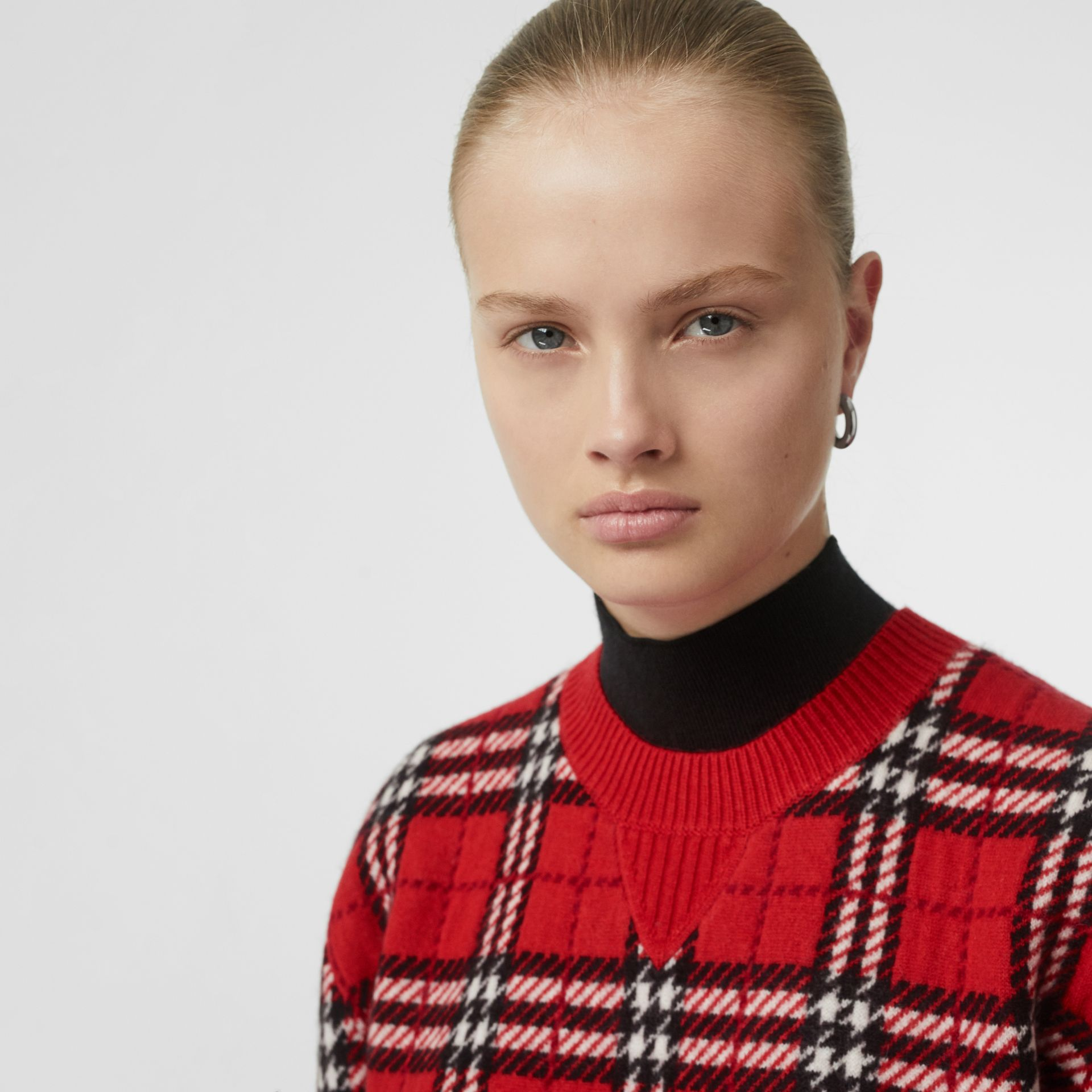 Check Cashmere Jacquard Sweater in Parade Red - Women | Burberry - gallery image 5