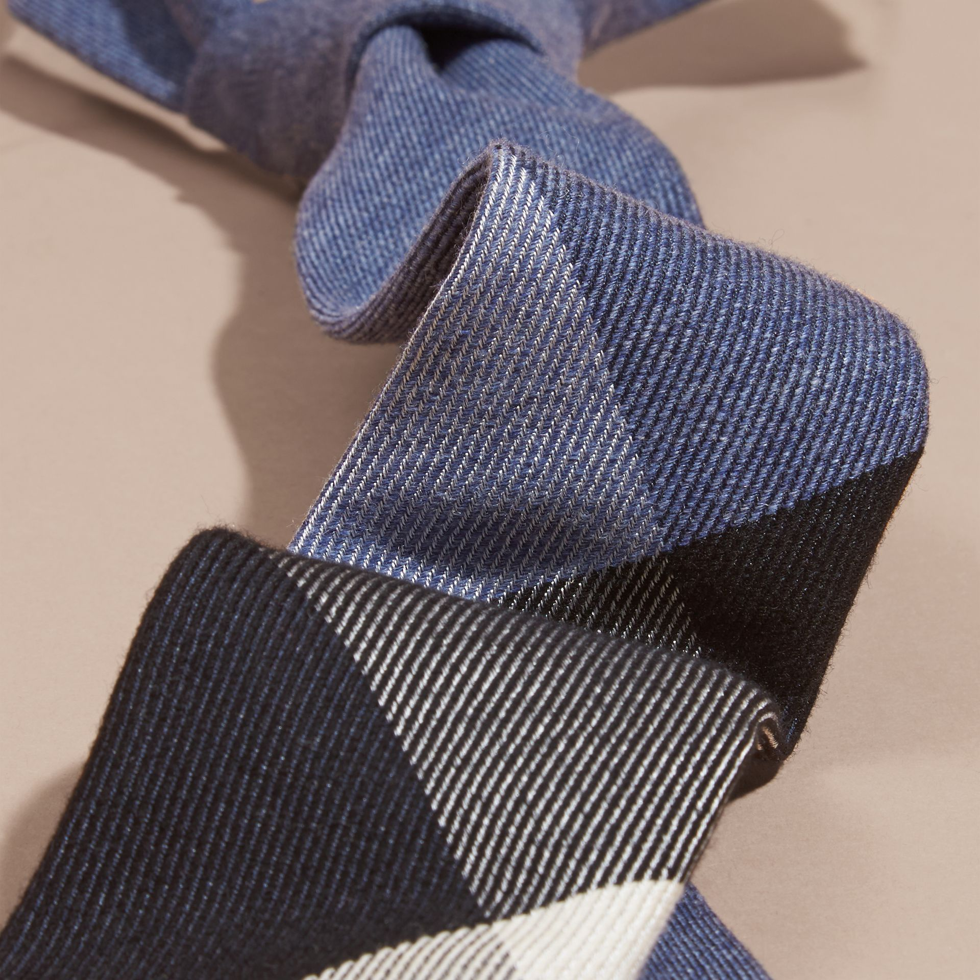 Modern Cut Check Cashmere Silk Tie in Airforce Blue - gallery image 2