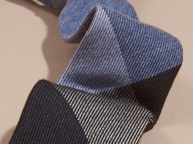 Modern Cut Check Cashmere Silk Tie in Airforce Blue - cell image 1