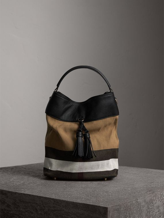 Sac The Ashby medium en toile Canvas check et cuir (Noir/noir)
