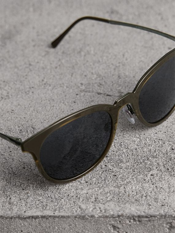 Round Frame Sunglasses in Dark Olive - Men | Burberry United States - cell image 2