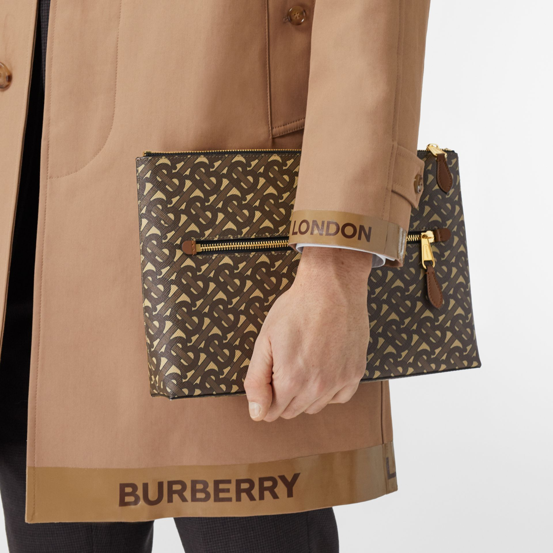 Monogram Print E-canvas Zip Pouch in Bridle Brown | Burberry United States - gallery image 3