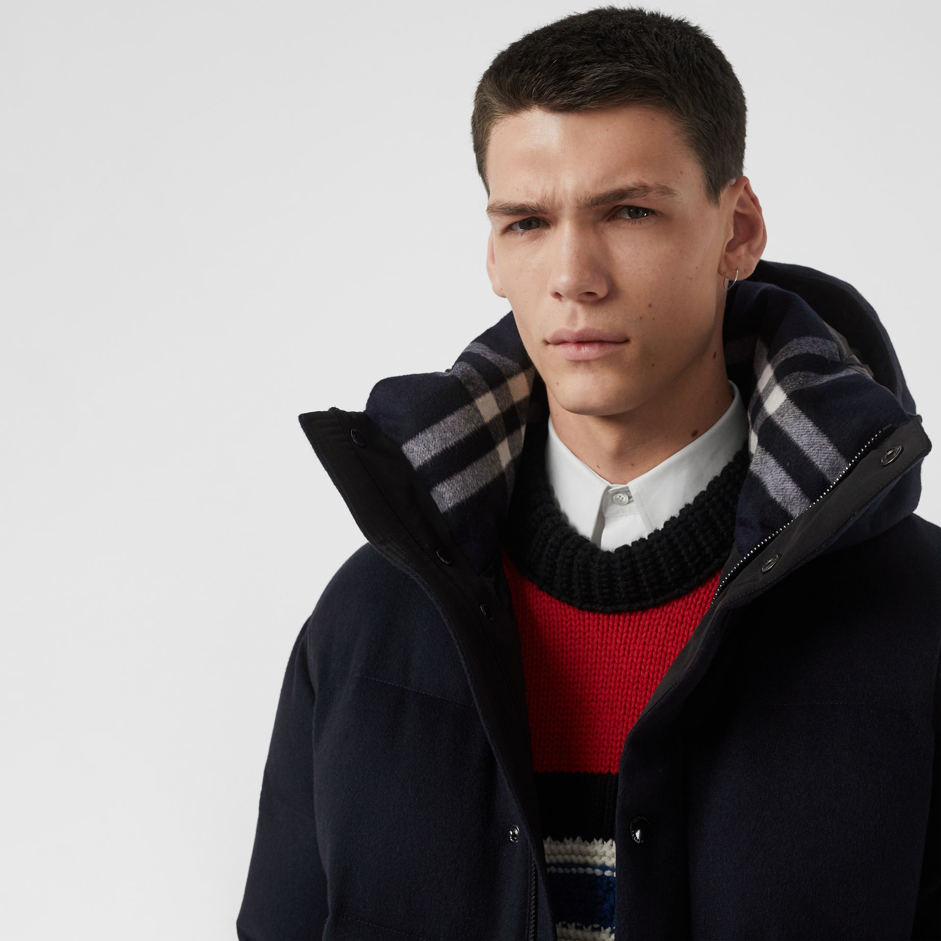 Cashmere Down-filled Hooded Jacket in Navy Melange - Men | Burberry - gallery image 1