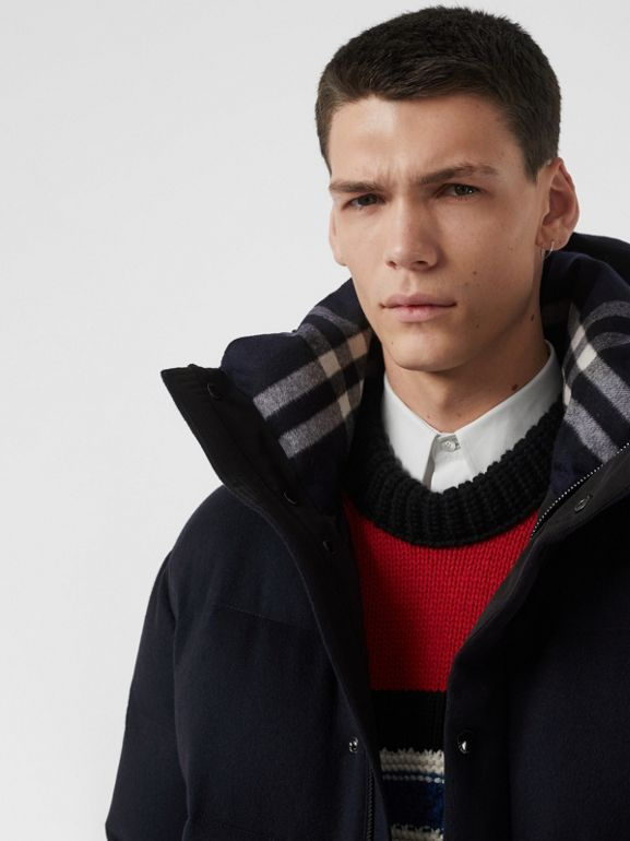 Cashmere Down-filled Hooded Jacket in Navy Melange - Men | Burberry United States - cell image 1