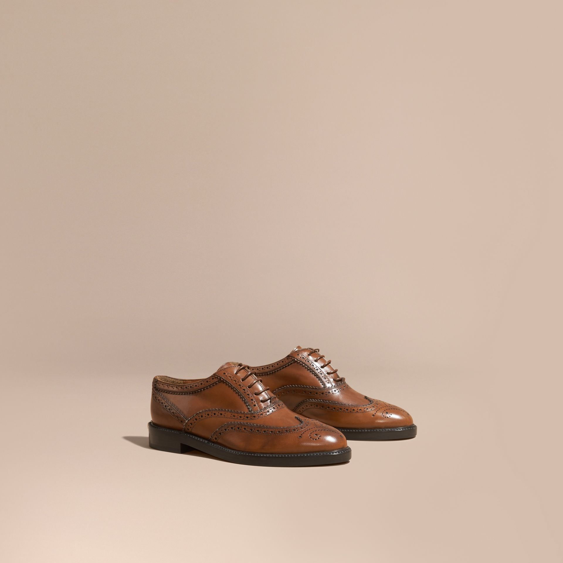 Leather Wingtip Brogues in Bright Camel - gallery image 1