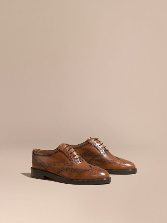 Leather Wingtip Brogues in Bright Camel - Women | Burberry