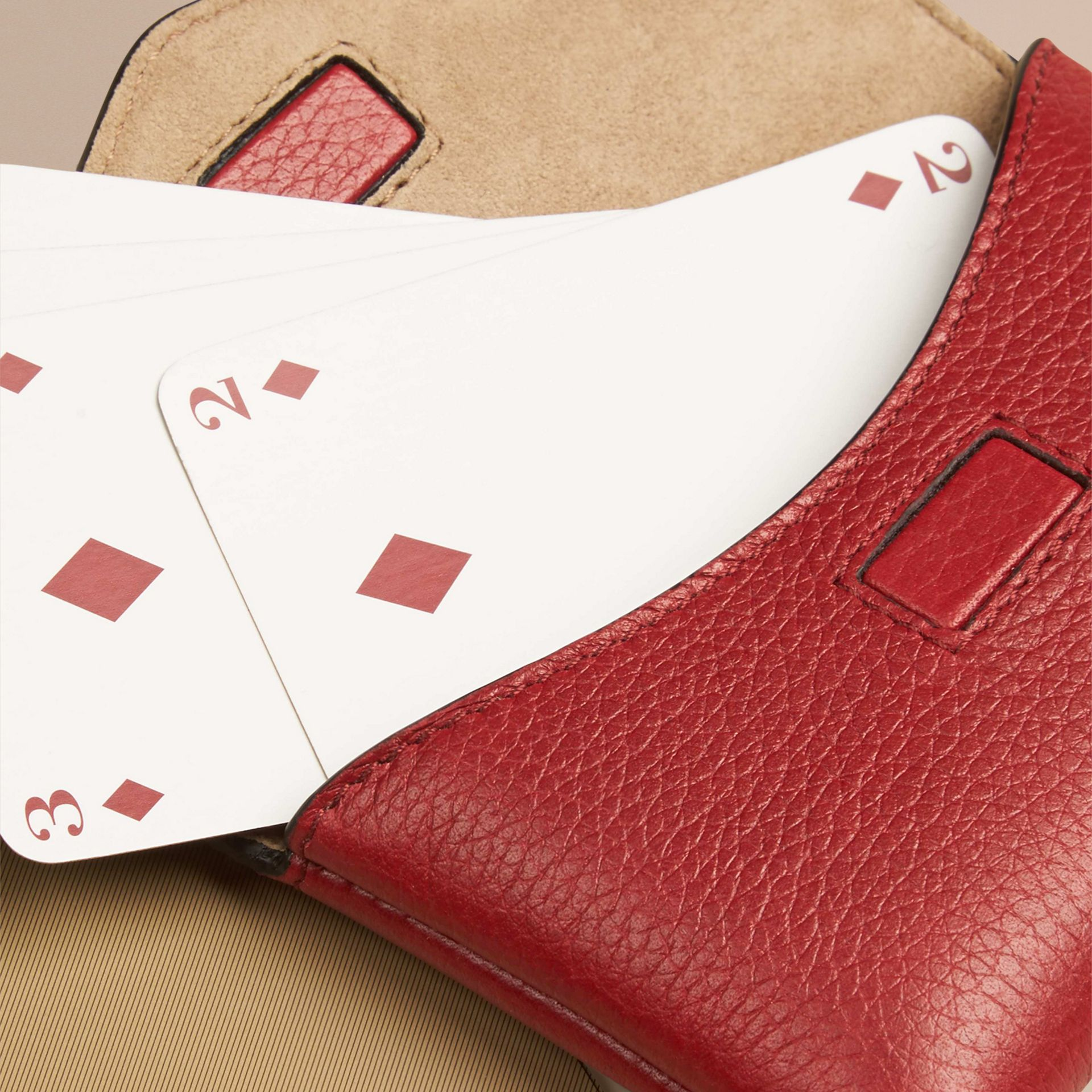 Grainy Leather Playing Card Case in Parade Red | Burberry - gallery image 2
