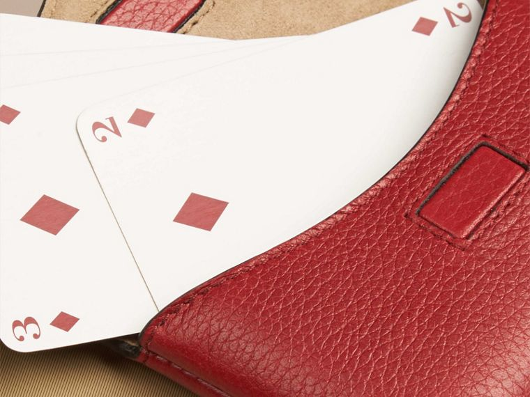 Grainy Leather Playing Card Case in Parade Red | Burberry - cell image 1