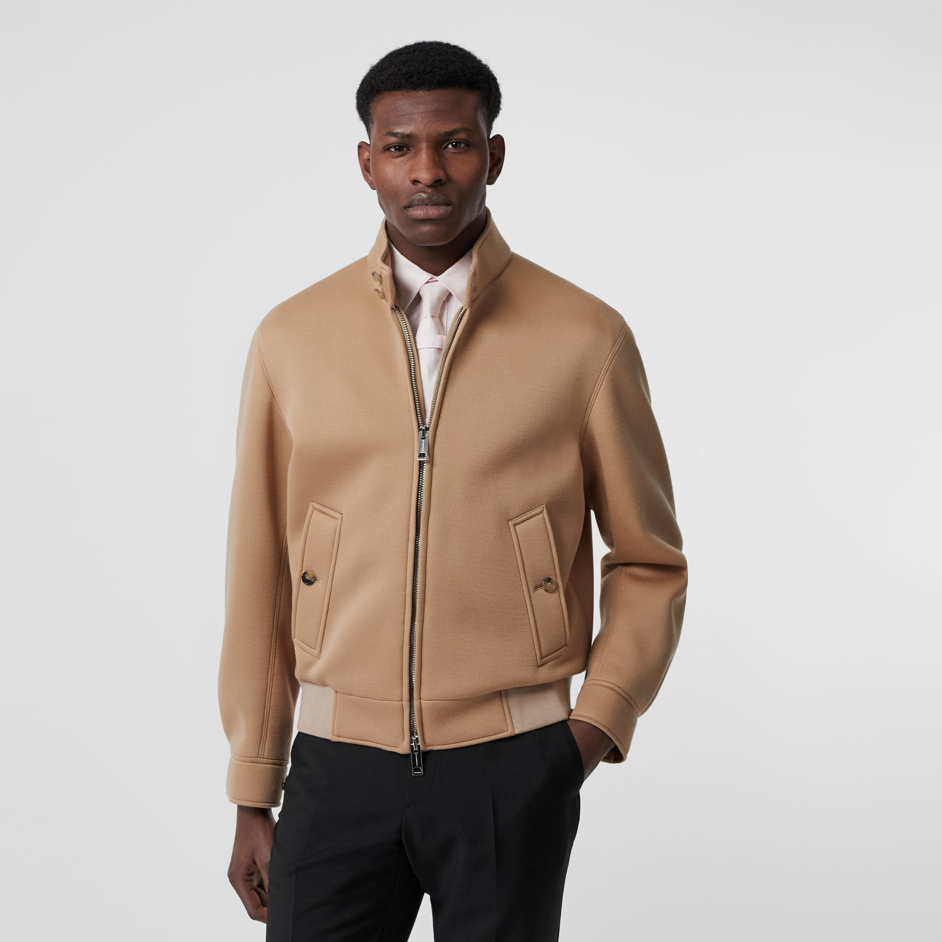 Neoprene Harrington Jacket in Beige | Burberry United Kingdom - gallery image 6