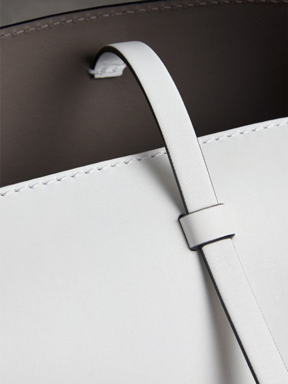 The Small Leather Bucket Bag in Chalk White - Women | Burberry - cell image 1