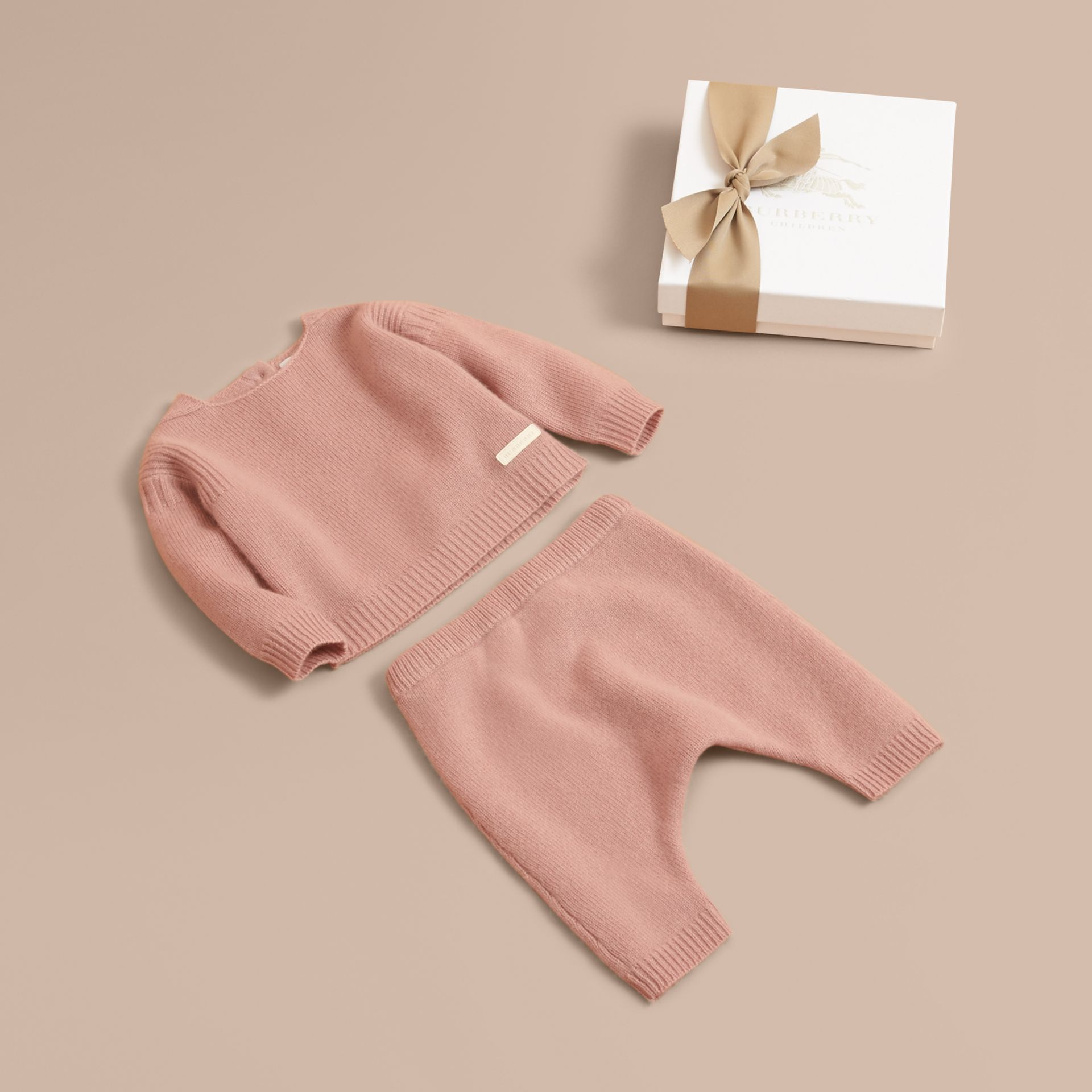Cashmere Two-piece Baby Gift Set in Dusty Pink | Burberry - gallery image 1