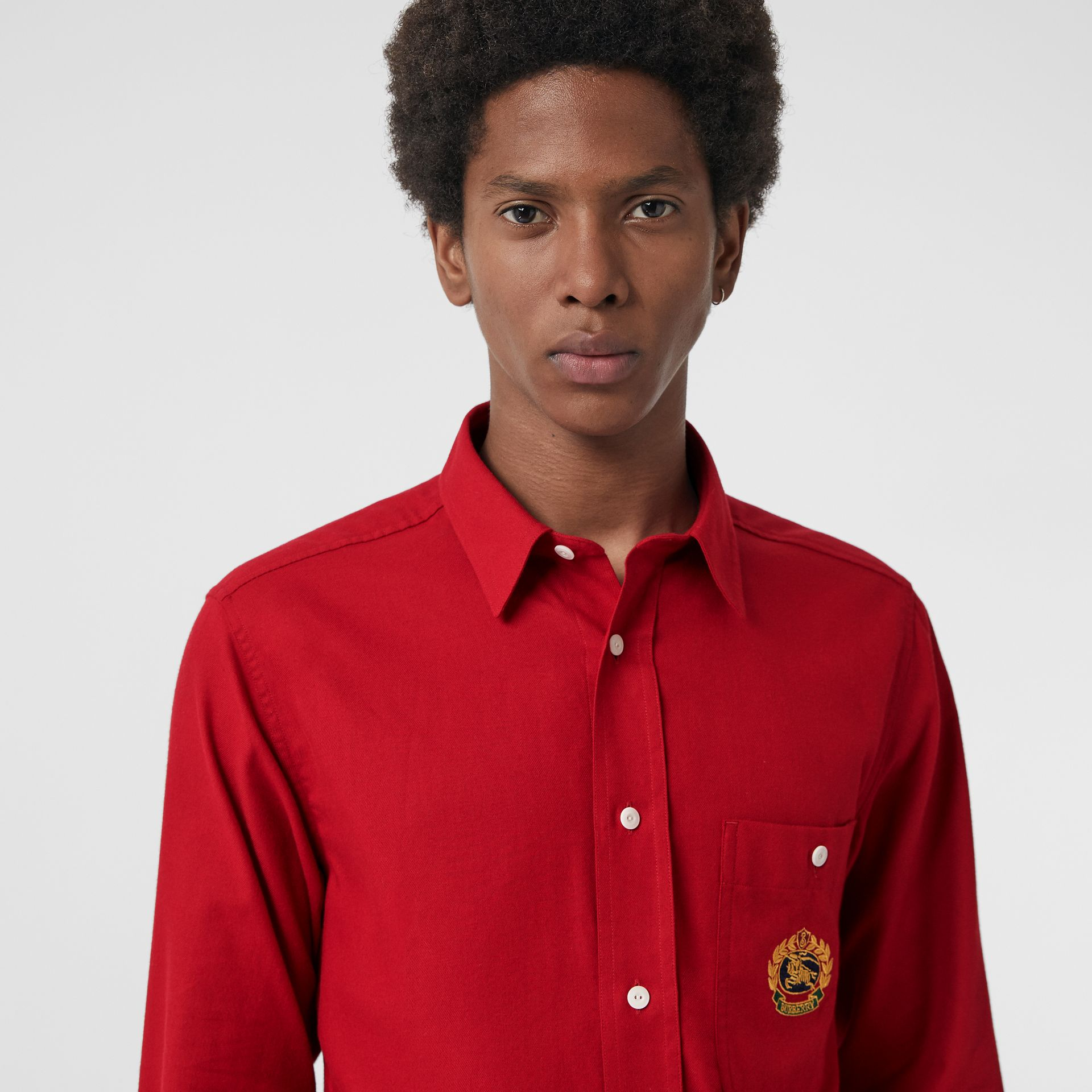 Embroidered Crest Flannel Shirt in Poppy Red - Men | Burberry - gallery image 1