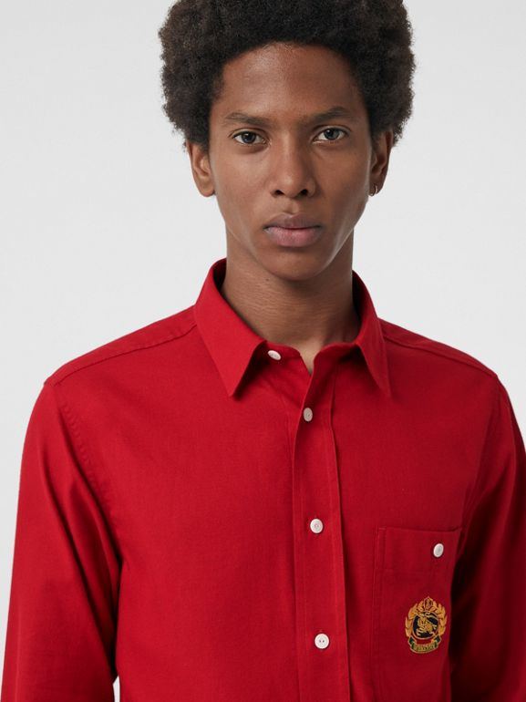 Embroidered Crest Flannel Shirt in Poppy Red - Men | Burberry - cell image 1
