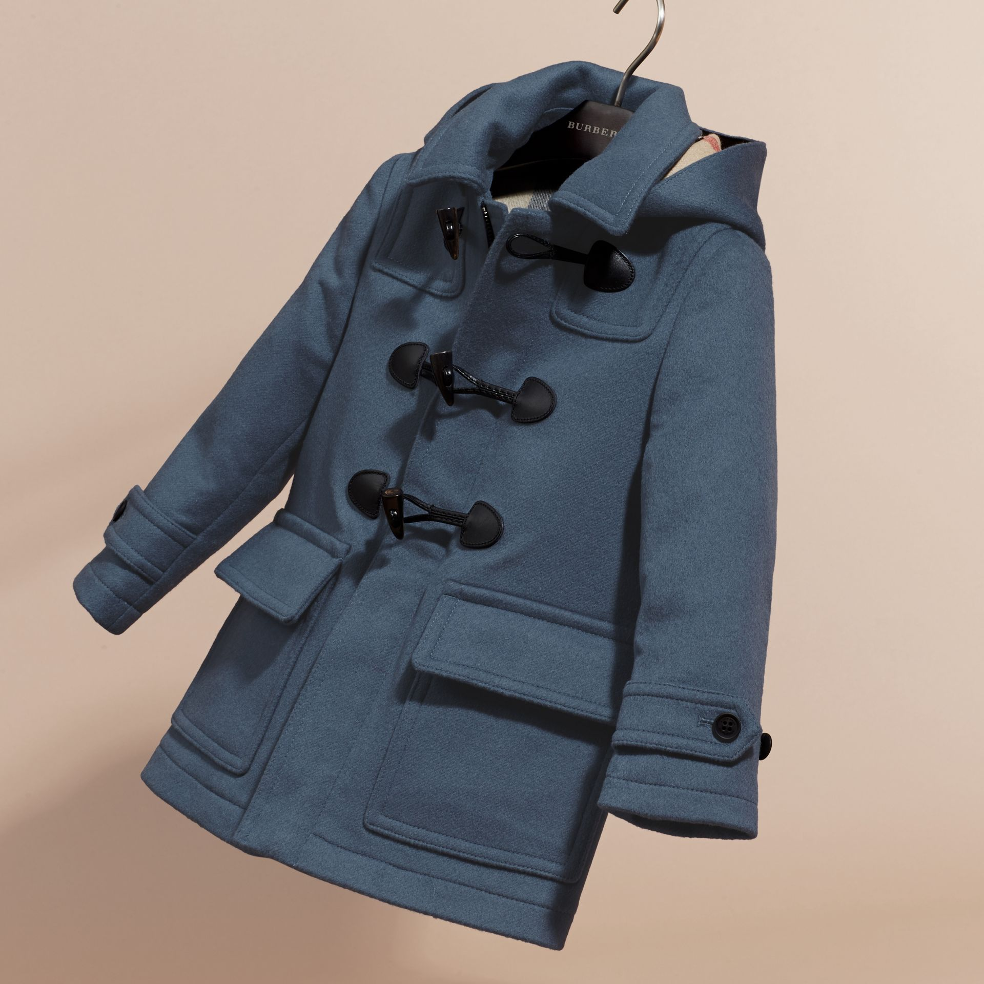 Steel blue Wool Duffle Coat with Check-lined Hood - gallery image 3