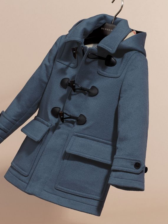Steel blue Wool Duffle Coat with Check-lined Hood Steel Blue - cell image 2