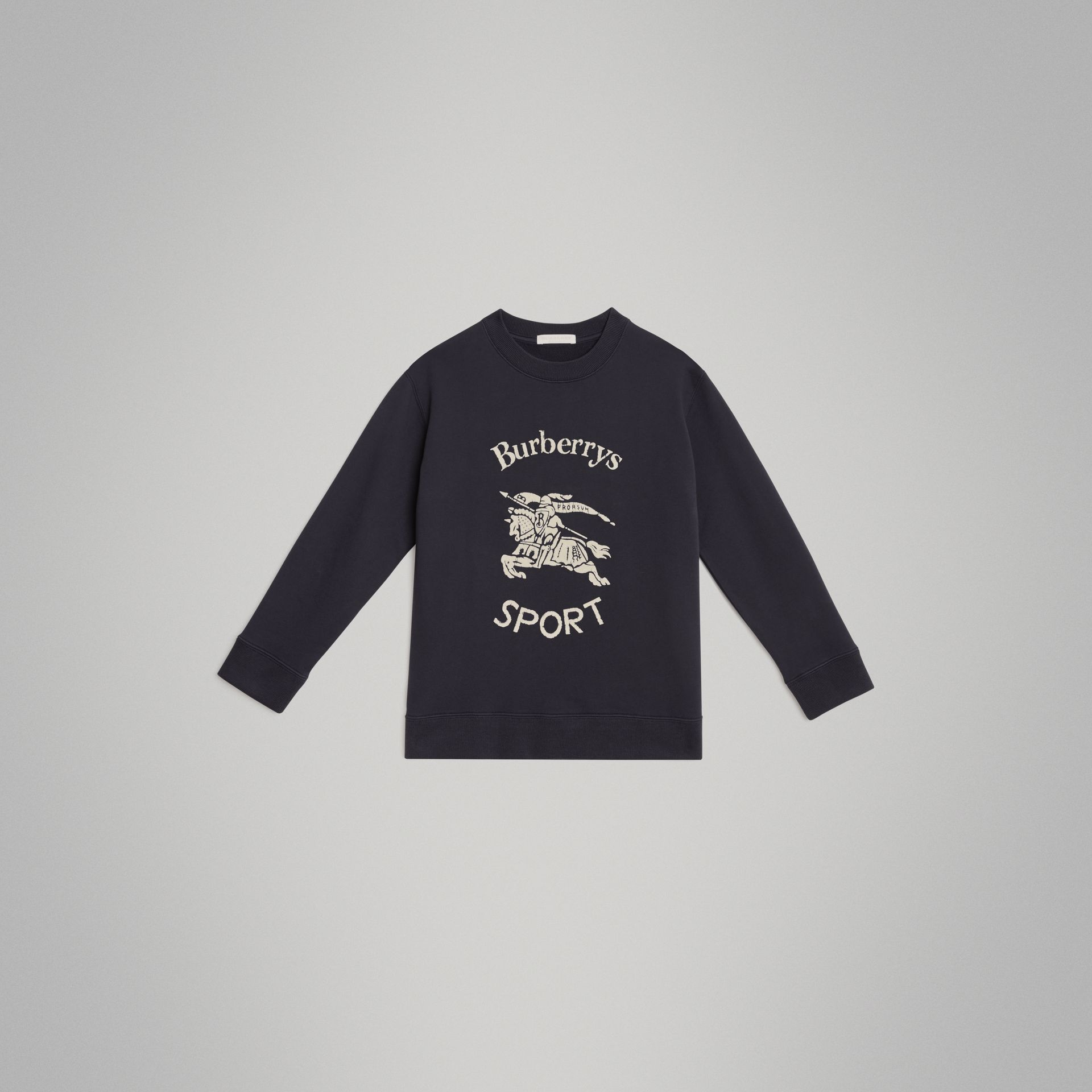 Archive Logo Print Cotton Sweatshirt in Light Navy | Burberry - gallery image 0