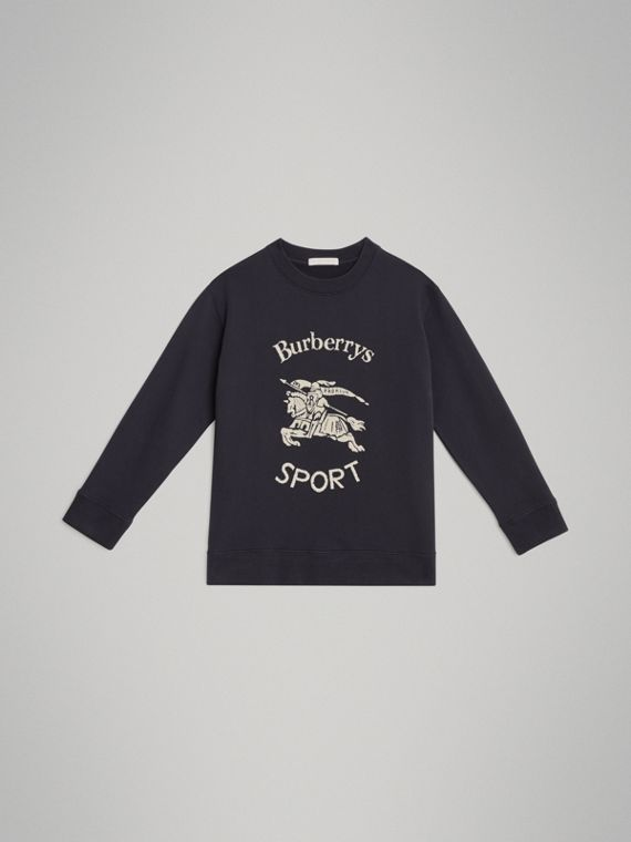 Archive Logo Print Cotton Sweatshirt in Light Navy