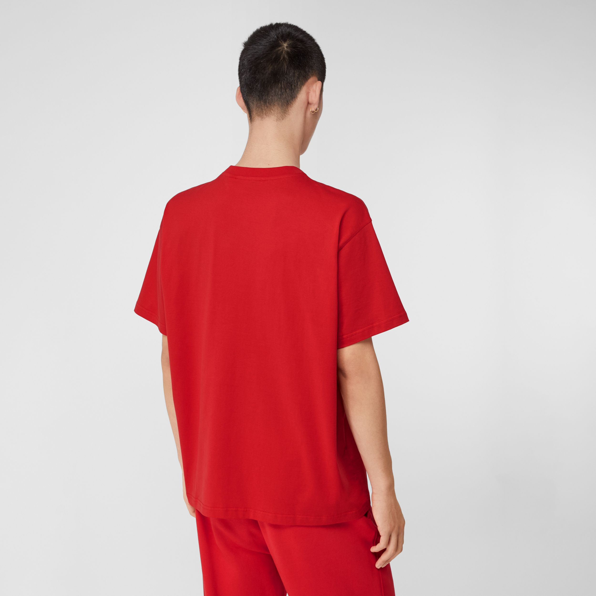 Monogram Motif Cotton Oversized T-shirt in Bright Red - Men | Burberry United Kingdom - 3