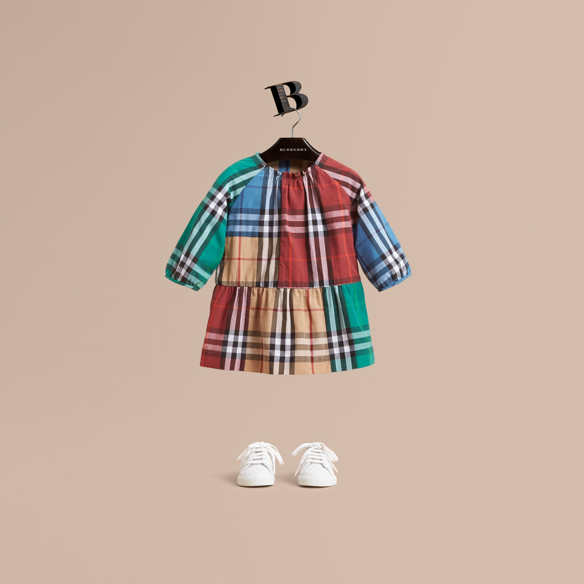 Colour Block Check Cotton Gathered Dress in Camel | Burberry Canada - gallery image 1