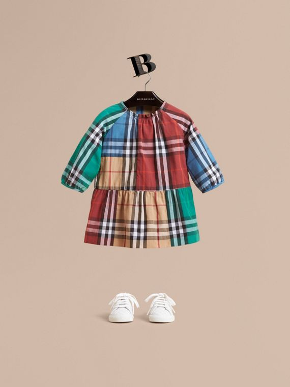Colour Block Check Cotton Gathered Dress in Camel