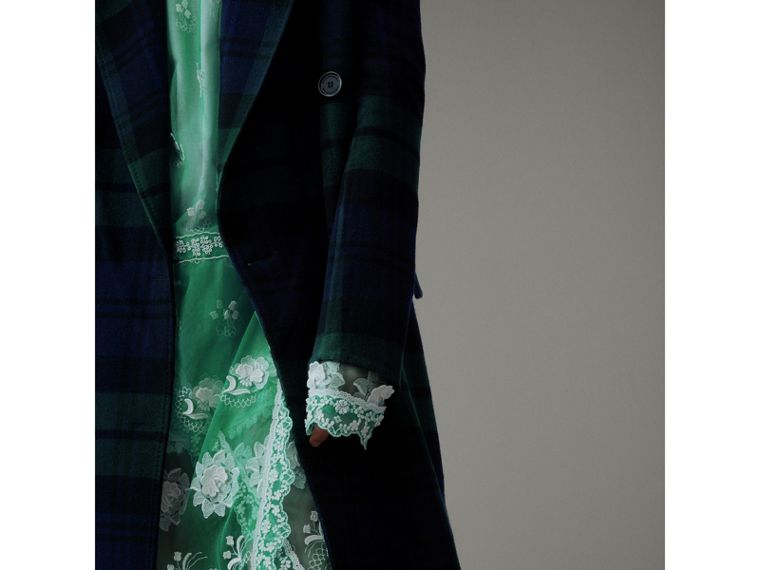 Tartan Double-faced Wool Cashmere Tailored Coat in Midnight Blue/bright Navy - Women | Burberry Australia - cell image 1