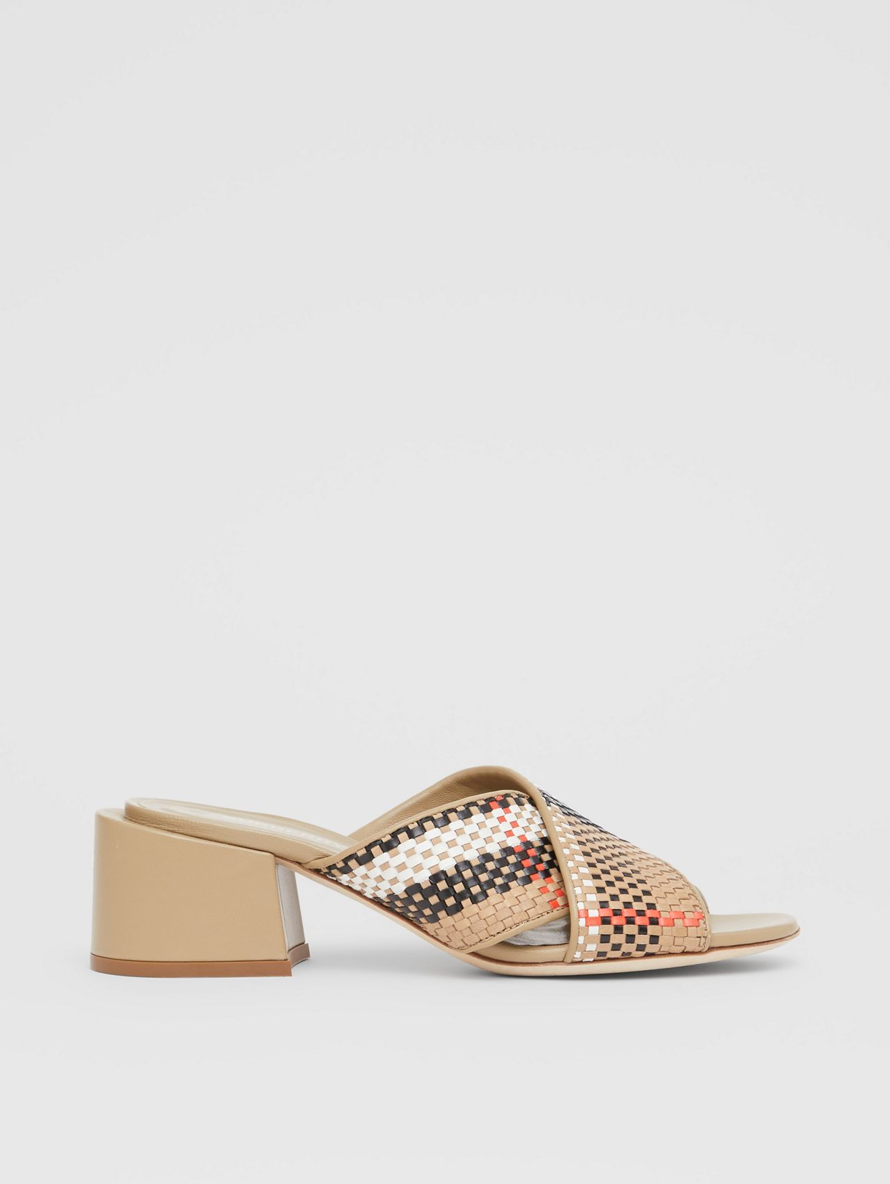 Latticed Leather Block-heel Sandals in Archive Beige