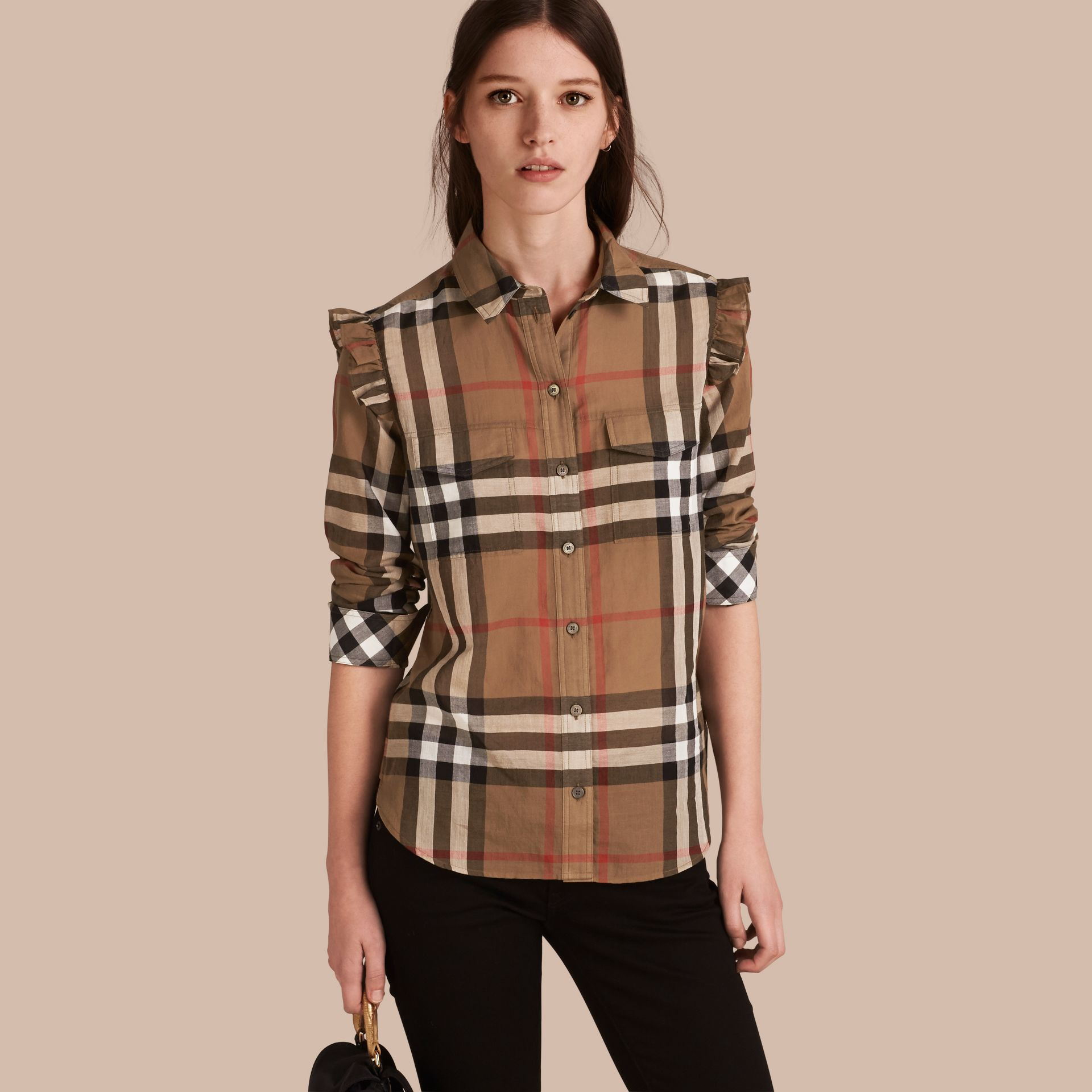 Taupe brown Frill Detail Check Cotton Shirt Taupe Brown - gallery image 1