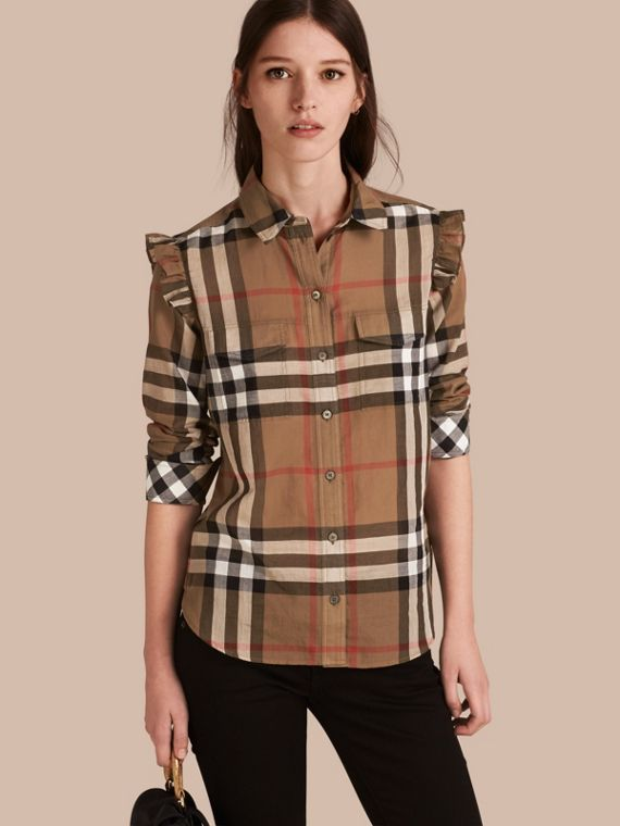 Frill Detail Check Cotton Shirt Taupe Brown