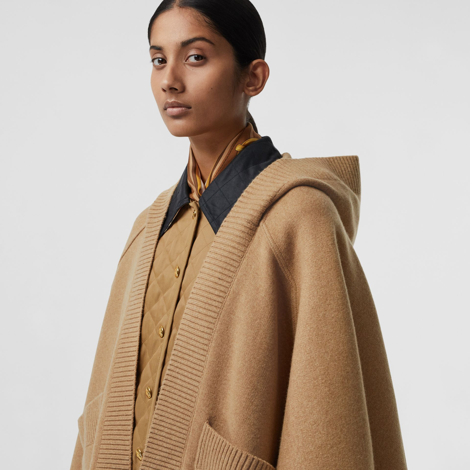 Crest Wool Blend Jacquard Hooded Cape in Rusty Camel - Women | Burberry - gallery image 1