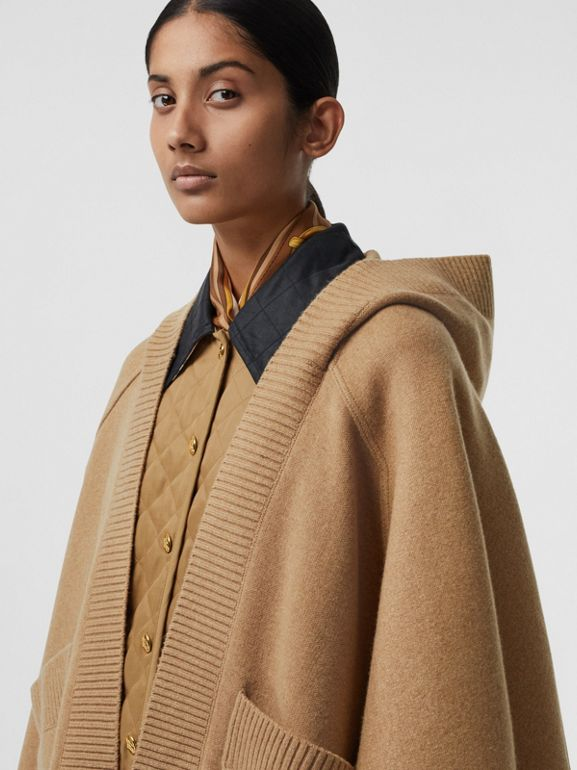 Crest Wool Blend Jacquard Hooded Cape in Rusty Camel - Women | Burberry - cell image 1