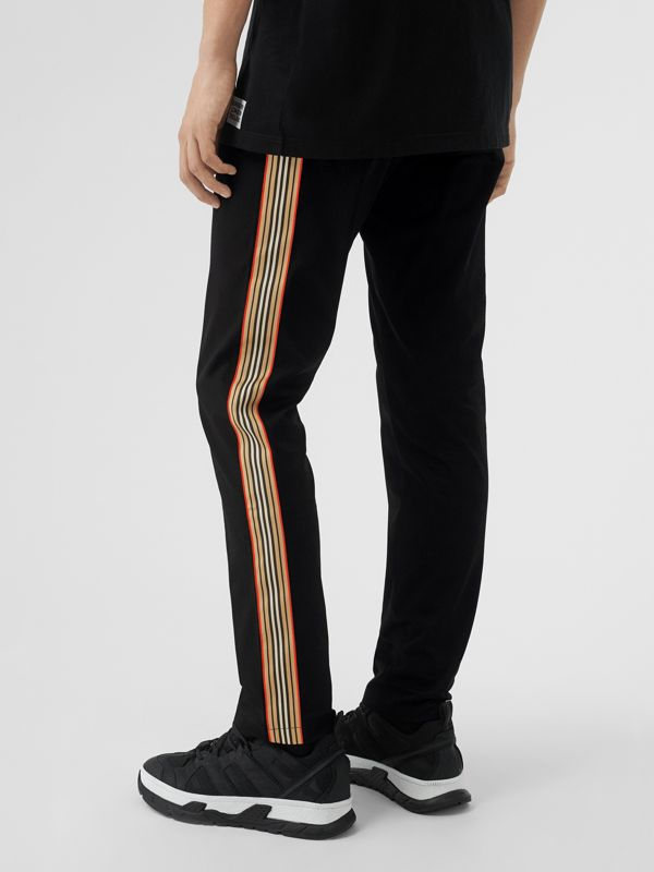 Slim Fit Icon Stripe Detail Cotton Chinos in Black - Men | Burberry - cell image 2