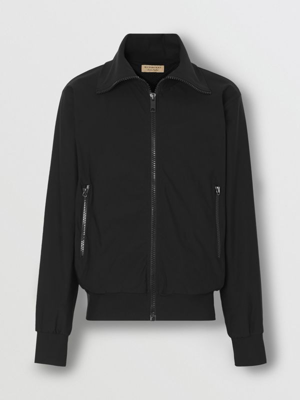 Logo Print Funnel Neck Track Top in Black - Men | Burberry United States - cell image 2