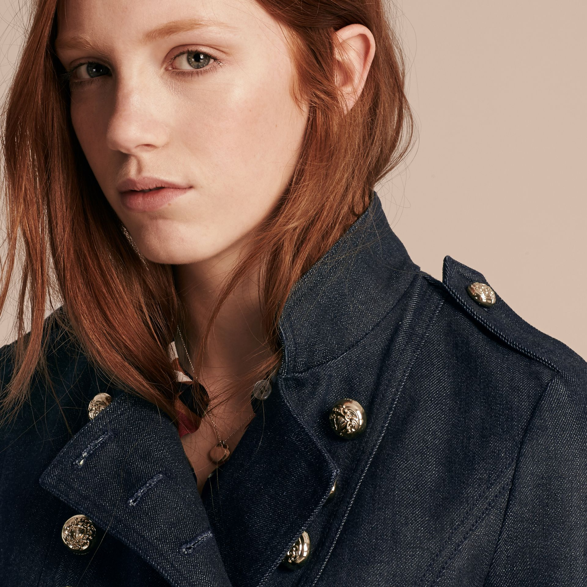 Indigo Stretch Denim Regimental Jacket - gallery image 5
