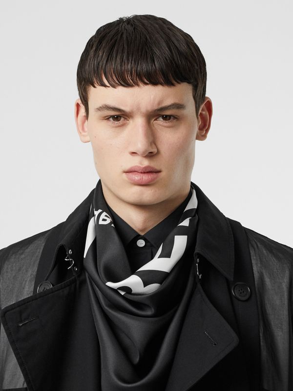 Horseferry Print Silk Square Scarf in Black | Burberry - cell image 3