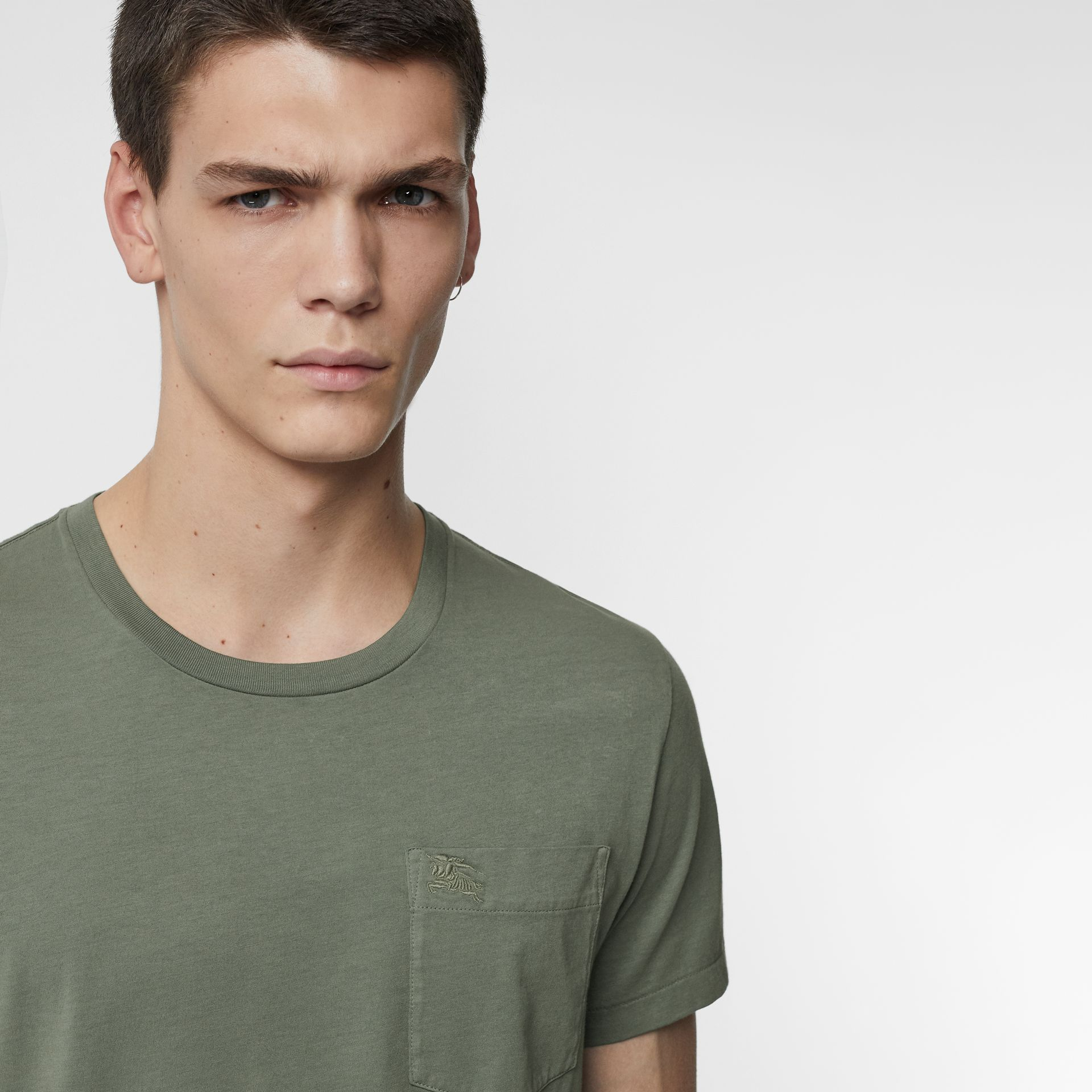 Cotton T-shirt in Clay Green - Men | Burberry Hong Kong - gallery image 1
