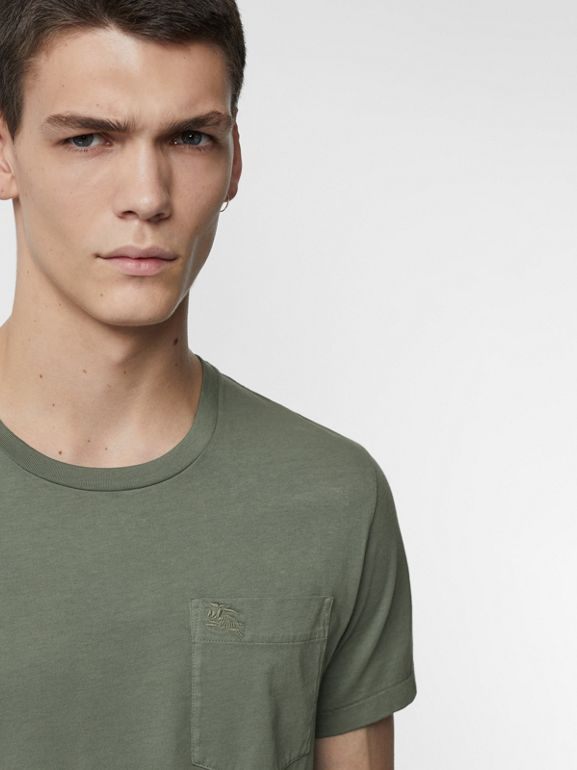 Cotton T-shirt in Clay Green - Men | Burberry - cell image 1