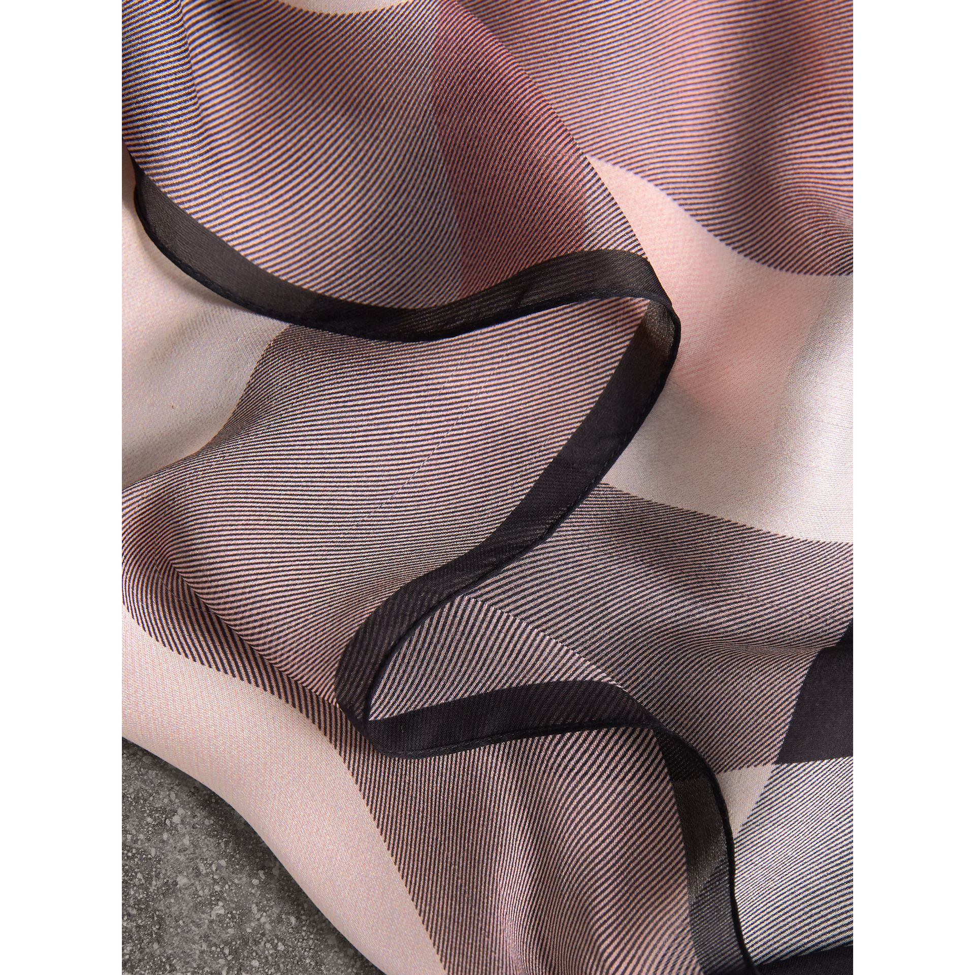 Lightweight Check Silk Scarf in Ash Rose - Women | Burberry - gallery image 1