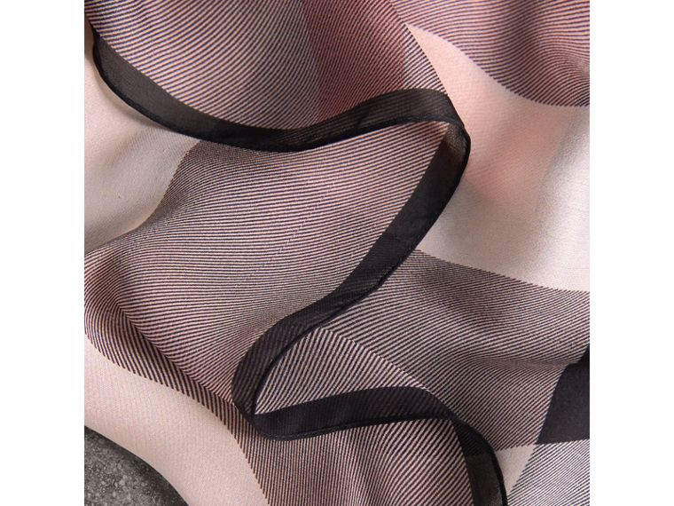 Lightweight Check Silk Scarf in Ash Rose - Women | Burberry - cell image 1