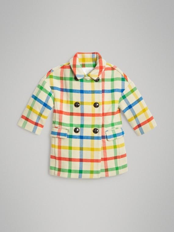 Mantel aus Wolltwill mit Karomuster (Antikgelb)