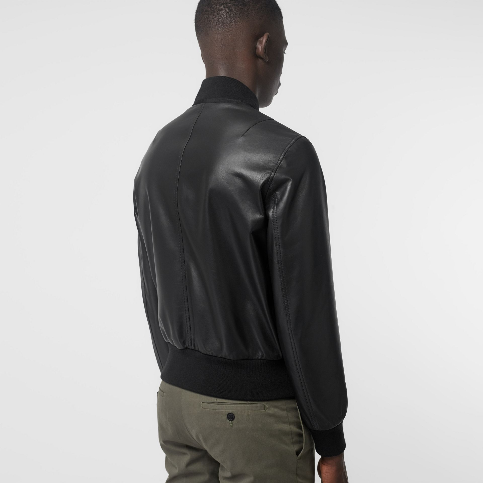 EKD Logo Lambskin Bomber Jacket in Black - Men | Burberry - gallery image 2