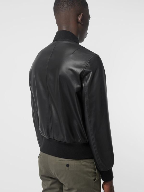 EKD Logo Lambskin Bomber Jacket in Black - Men | Burberry - cell image 2