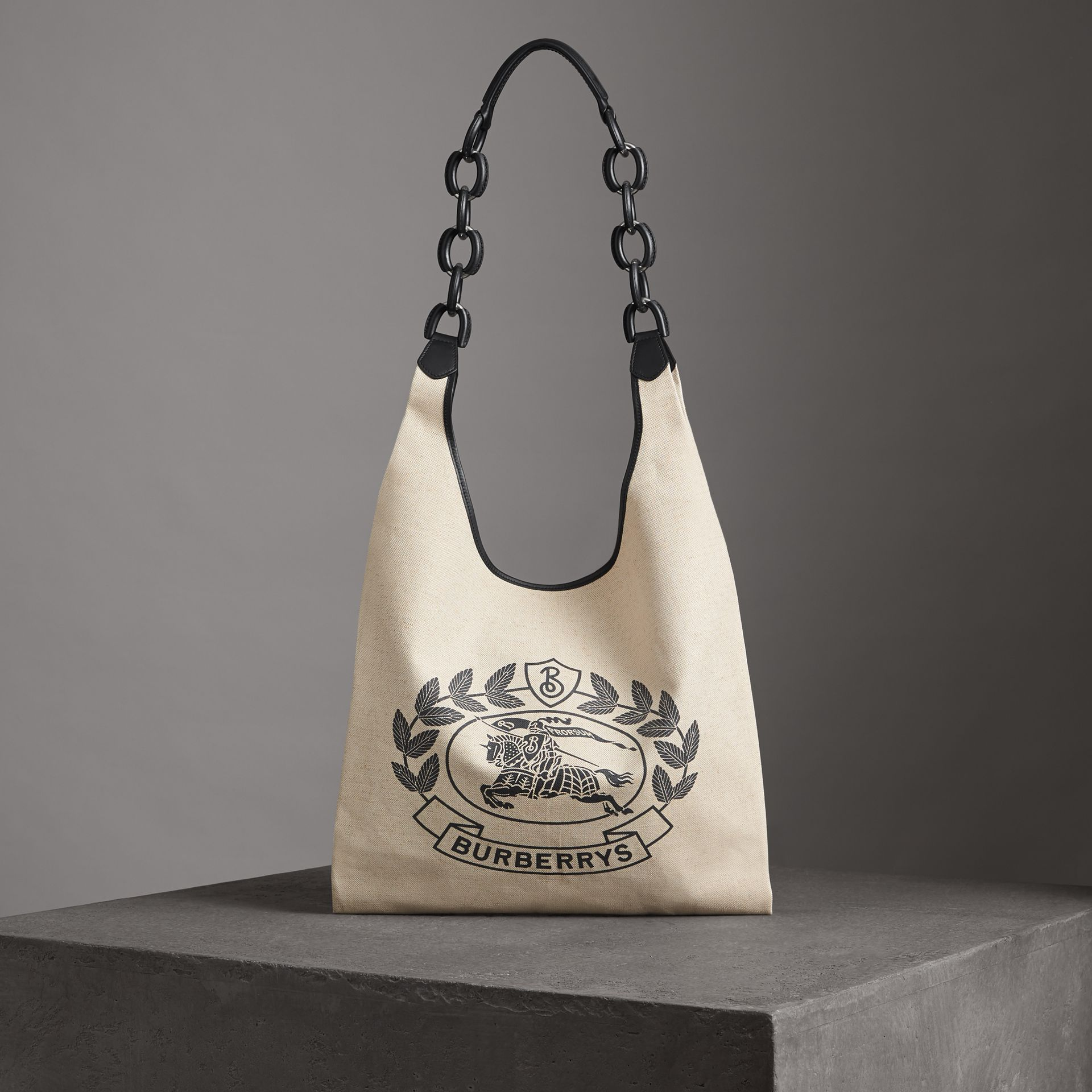 Medium Archive Logo Canvas and Leather Shopper in Black - Women | Burberry - gallery image 0